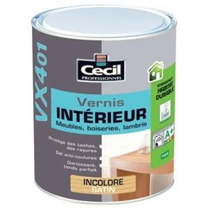 achat vernis bois interieur incolore satin cecil vx401 pas cher. Black Bedroom Furniture Sets. Home Design Ideas