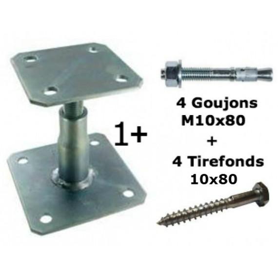 Kit Simpson APB100/150 Pied de poteau réglable + 4 goujons + 4 Tirefonds